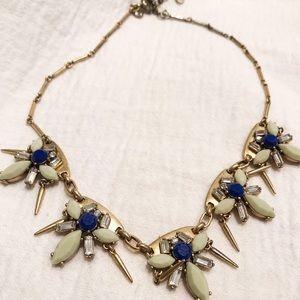 J crew blue gold necklace